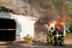 TetraKO quickly and effectively knocks down garage fire at this test burn in Rockford, MN